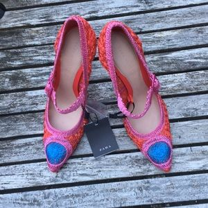 Zara red,pink and blue crochet heels size 6